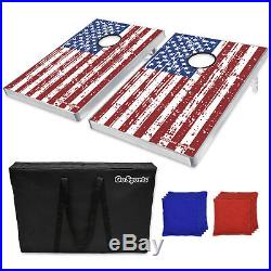 American Flag Bean Bag Toss Tailgate Cornhole Boards Game Foldable Set