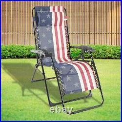 American Flag Chair Zero Gravity Outdoor Folding Lounger Beach Patio Lawn USA