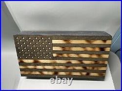 American Flag Concealment Case Hidden Gun Storage Compartment Cabinet 20 X 10