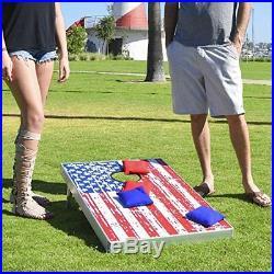 American Flag Corn Hole Bean Bag Toss Game Set 8 Bags per Pack 3 x 2 Feet