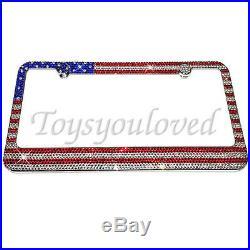 American Flag Crystal Bling License Plate Frame Rhinestone with Swarovski Elements