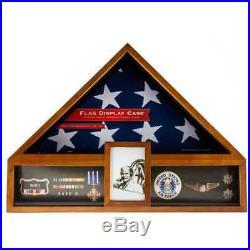 American Flag Display Case Military Memorial Medal Badge Photo Box Veteran USA