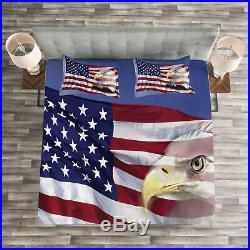 American Flag Quilted Bedspread & Pillow Shams Set, Bless America Flag Print