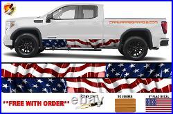American Flag Rocker Panel Graphic Decal Wrap Kit for Truck Waving USA Boa