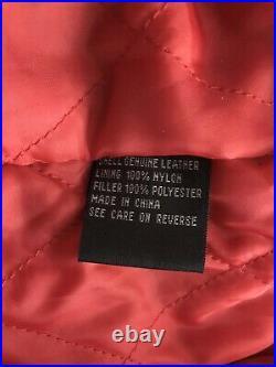 American Flag USA Bald Eagle Embroidered Vintage Mens Leather Jacket Coat XL