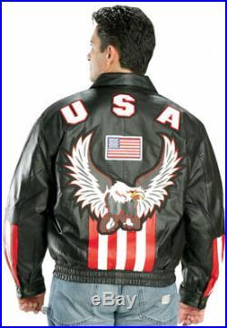 American Flag USA Eagle Black Leather Bomber Jacket