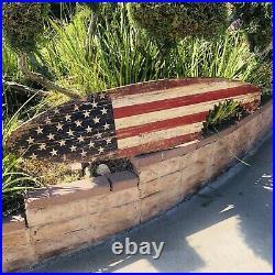American Flag USA Wood Surfboard Brewing Beer Bar Pub Sign Mirror