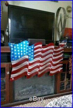 American Flag Wall Sculpture indoor outdoor Patriotic Metal Art USA Flag Decor