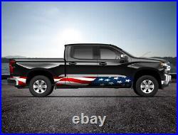 American Flag Waving USA Rocker Panel Truck SUV Graphic Decal Wrap Kit -4 Sizes