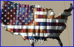 American Flag in USA Metal Wall Art Heat Treated