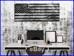 American Glory Black & White Modern Patriotic Metal Wall Art USA Flag Artwork