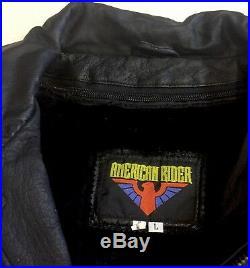 American Rider USA Flag/ Eagle Bomber Leather Motorcycle Jacket Mens Large EUC