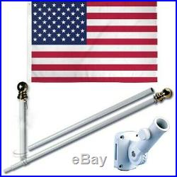 American USA 3 x 5 FT Flag with 6-Ft Spinning Flag Pole + Bracket (Tangle Free)