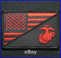 American USA Flag Marine Corps Black Op Red Velcro Brand Fastener Morale Patch