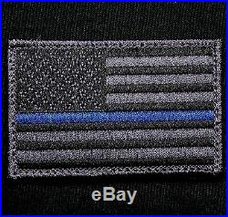 American USA Flag Thin Blue Line Police Dark Ops Velcro Brand Fastener Patch