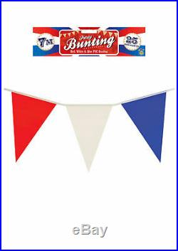 American USA United States Coloured Flag Bunting Red White Blue Coloured 7 meter