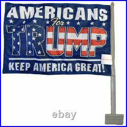 Americans For Trump Blue 100D Rough Tex Knit Double Sided 11x15.5 Car Flag