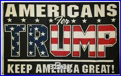 Americans For Trump Keep America Great! Black Nylon 12x18 12x18 Flag Grommets