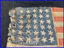 Antique 36 Stars American Parade Flag 1865 Nevada United States of America USA