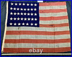 Antique 38 Stars American Flag Colorado 1877-1890 United States USA