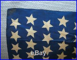 Antique 45 Star American Silk Flag 47 x 32 1900's Utah Statehood USA