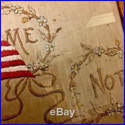 Antique 48 Star American Flag Embroidery Needlepoint Forget Me Not Patriotic USA