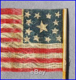 Antique American Parade Flag 13 STARS 1876 Centenial USA July 4th Independence