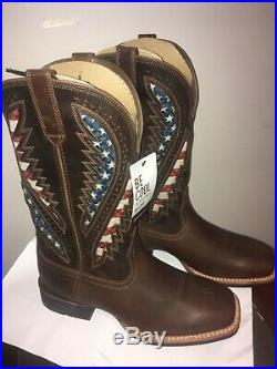 Ariat 10027165 American Patriotic USA Flag Square Toe Western Boot 10.5 EE Wide