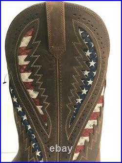 Ariat Quickdraw Venttek Men's 9 Wide Western Distressed Brown American USA Flag