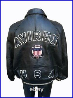 Avirex OG ICON Jacket All American USA 1975 Leather Size XL NAS Method Man Belly