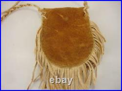 Beaded Native American Crow Medicine Bag Necklace Brain Tanned Leather USA Flag