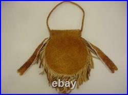 Beaded Native American Crow Medicine Bag Purse Leather USA Flags Beaded Work Big