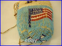 Beaded Native American Indian Brain Tanned Leather Crow Bag Pouch USA Flag Old