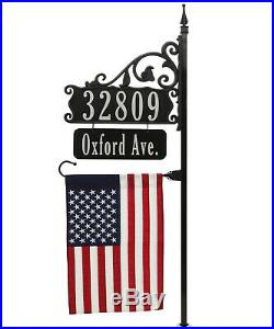 Beautiful USA Handcrafted Reflective Address Sign, Name Rider, American Flag