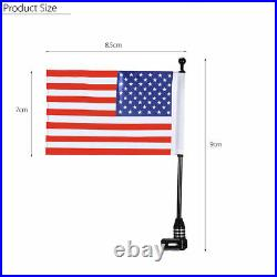 Black Universal Motorcycle American USA Flag pole Luggage Rack Mount For Harley