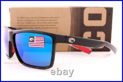 Brand New Costa Del Mar Sunglasses RINCONCITO Shiny USA Black/Blue Mirror 580G