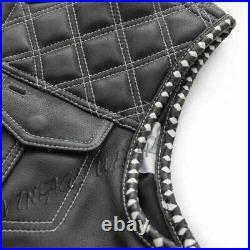 Burton Black Leather USA Flag Lining Mens SOA CLub Biker Motorcycle Rider Vest
