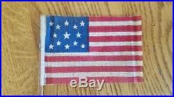 C 1876 OLD VINTAGE 13 STAR CENTENNIAL U. S. AMERICAN PARADE FLAG rare size