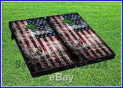 CORNHOLE BEANBAG TOSS GAME w Bags Game Board Vintage American Flag USA Set 753