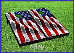 CORNHOLE BEANBAG TOSS GAME w Bags Game Boards USA American Flag Stars Set 1134