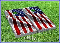 CORNHOLE BEANBAG TOSS GAME w Bags Game Boards USA American Flag Stars Set 1234