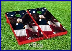 CORNHOLE BEANBAG TOSS GAME w Bags Patriotic Eagle USA American Flag Wood Set 127