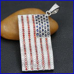 Charm American USA Flag Red Blue Lab Diamond 925 Sterling Silver Necklace Pendan