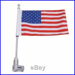 Chrome Universal Motorcycle American USA Flag pole Luggage Rack Mount For Harley