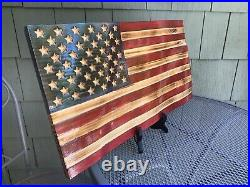 Custom made torched stained 3d USA waving wood flag great gift present