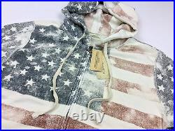 Denim & Supply Ralph Lauren Men American USA Flag Full Zip Hoodie Sweatshirt M