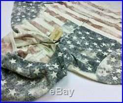 Denim Supply Ralph Lauren Men Distressed US American Flag Full Zip Hoodie Jacket