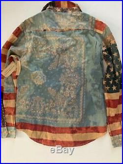 Denim & Supply Ralph Lauren Mens American Flag USA Bandana Shirt Small S NWT