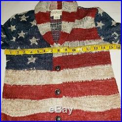 Denim & Supply Ralph Lauren USA Flag Knit Shawl Cardigan Sweater Womens XS