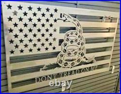 Don't Tread On Me 32 USA American Flag Steel Metal Sign Gadsden Rattlesnake